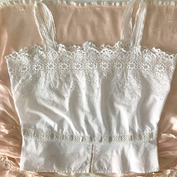 RESERVED- Antique Broderie Anglaise Corset Cover … - image 9