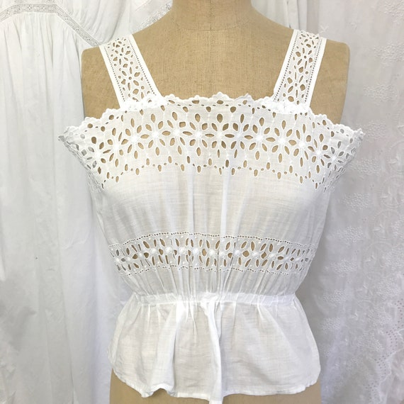 Antique Daisy Eyelet Corset Cover Camisole XS