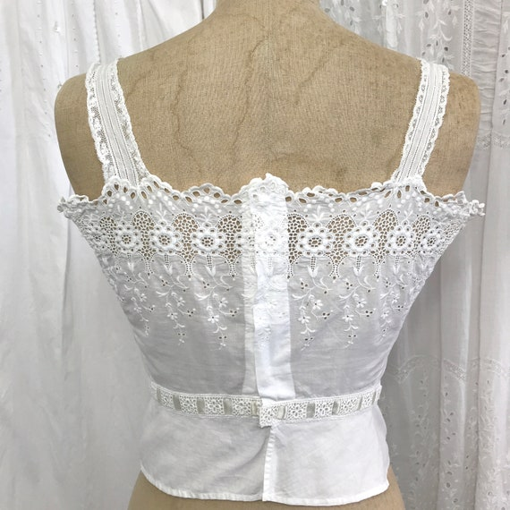 RESERVED- Antique Broderie Anglaise Corset Cover … - image 10