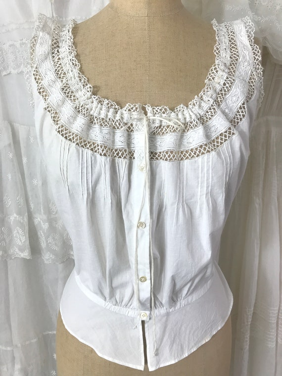 Antique Embroidered Bow Motif Corset Cover