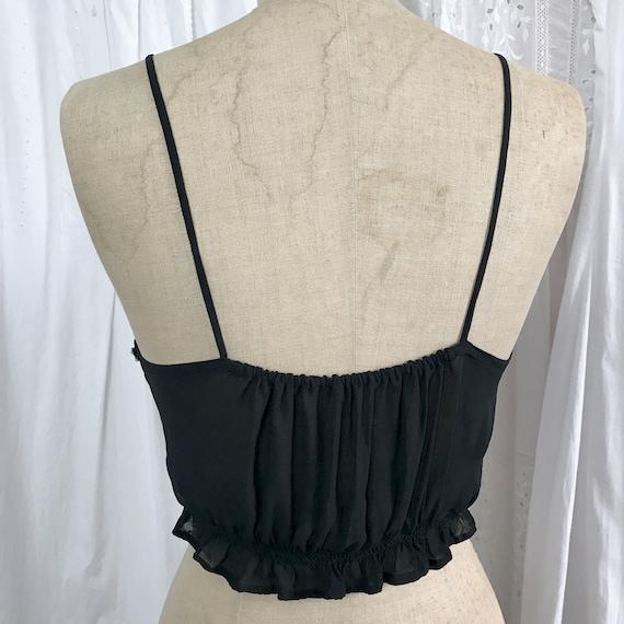 Vintage 1940s Black Crepe Lace Ribbon Camisole - image 8