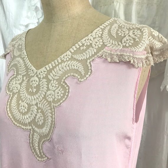 Vintage 1930's Lace Capped Sleeve Pink Top
