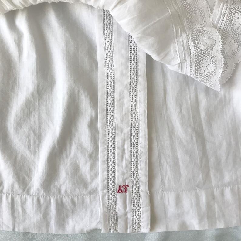 Antique 1900/'s Embroidered Dropped Shoulder Blouse UK 8-10