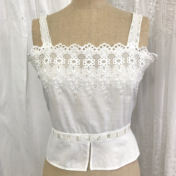 RESERVED- Antique Broderie Anglaise Corset Cover … - image 6