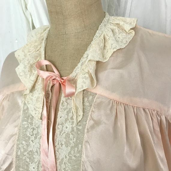 Vintage 1940s Lace Trim Satin Rayon Bed Jacket