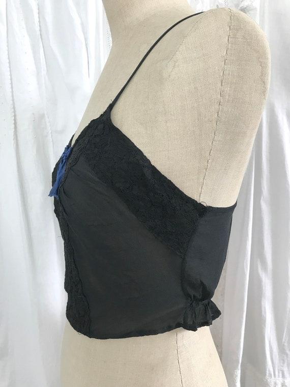 Vintage 1940s Black Crepe Lace Ribbon Camisole - image 5