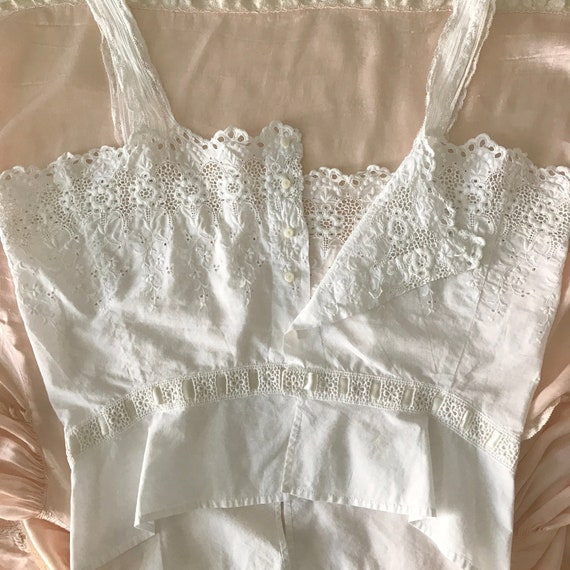 RESERVED- Antique Broderie Anglaise Corset Cover … - image 3