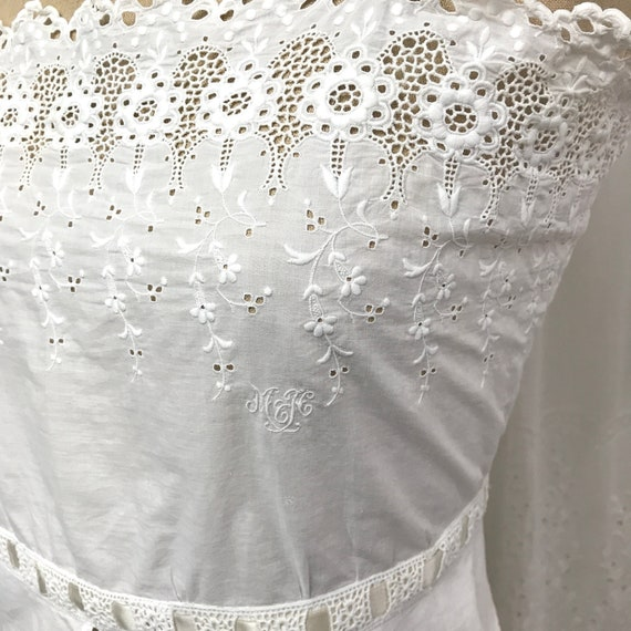 RESERVED- Antique Broderie Anglaise Corset Cover … - image 2