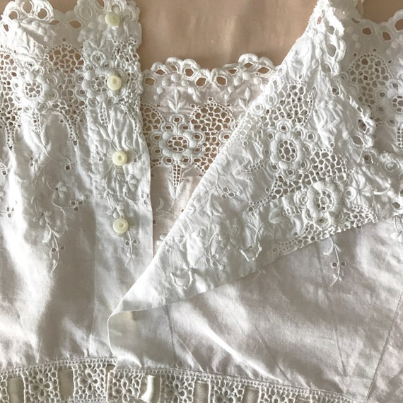 RESERVED- Antique Broderie Anglaise Corset Cover … - image 7