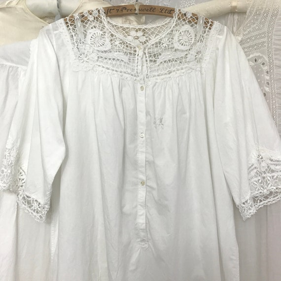 Antique Vintage Crochet Lace Trim Nightgown