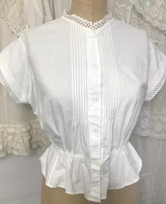 Antique Edwardian Fitted Cotton Corset Cover