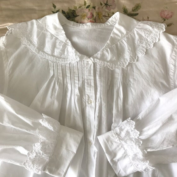 Antique Sailor Collar Bed Jacket Blouse