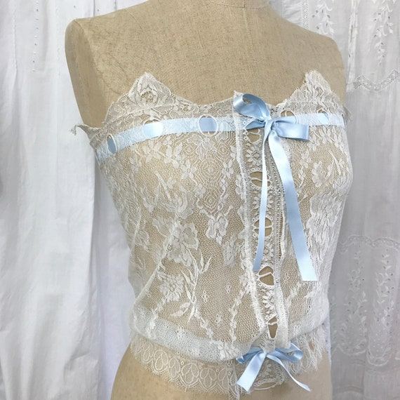 Beautiful Edwardian Strapless Blue Ribbon Camisole