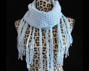 CLEARANCE SALE* Handmade Light Blue Crochet Any Season Fringe Infinity Scarf