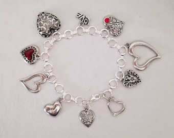 Silver Plated Charm Bracelet With Pewter Heart Charms