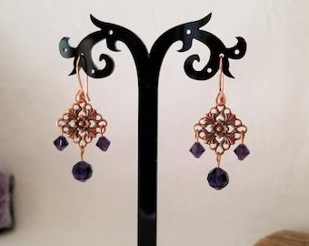 Copper Chandelier Earrings Made With Purple Velvet Swarovski Crystal Beads