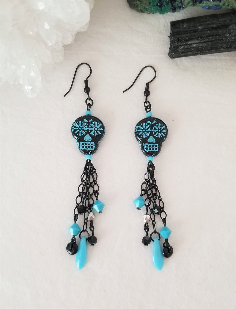 BlackTurquoise Halloween-Day Of The Dead-Skull Czech Beaded Necklace And Earrings