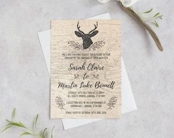 Deer Wedding Invitations Etsy