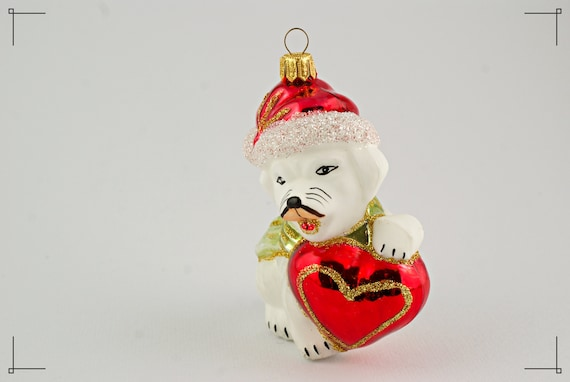 White Dog With Heart Christmas Tree Decoration Blown Glass Etsy