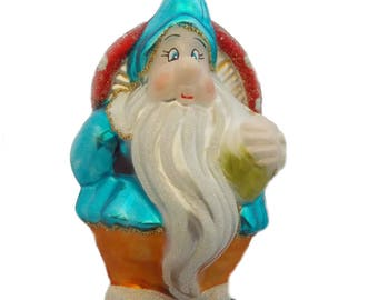 Dwarf with flybane - mouth blown glass ornament.