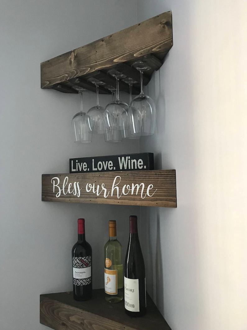 Rustic Wood Wine Rack, Wine Rack, Corner Wine Rack, Floating Wine Rack,  Wall Wine Rack, Corner Shelf, Kitchen Wine Rack, Wood Wine Rack,