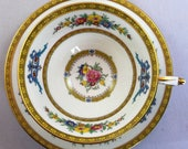 Paragon Double Warrant Wide Mouth Teacup and Saucer yellow pink blue floral
