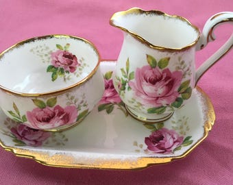 Royal Albert American Beauty Cream and Sugar Set, with Tray