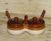 Brown Glazed Stoneware Condiment Server Stoneware Double Crocks with Lids Boho Chic Sugar Salt Bowls Mid Century Farmhouse