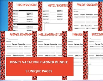 Disney World Vacation Planner Kit – Printable Itineraries, Reservations, Minnie Mouse Letter