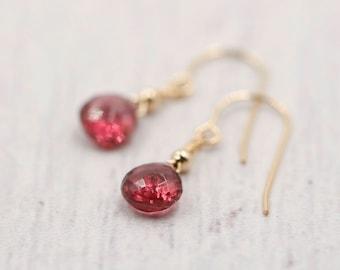 Garnet Earrings 14k Solid Gold - January Birthstone -Minimalist Earrings