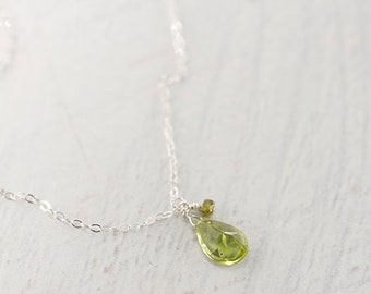 Peridot Necklace, Fancy Cut, Sterling Silver, Delicate Necklace, August Birthstone