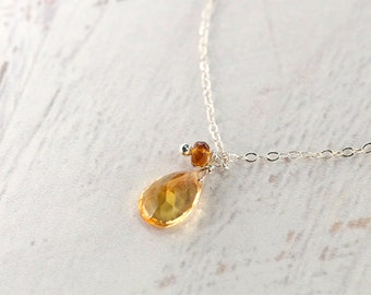 Citrine Necklace, Fancy Cut, Sterling Silver, Delicate Necklace, November Birthstone