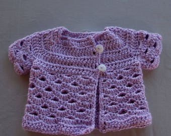 Crocheted Purple Shell Baby Cardigan, 6-9 Months