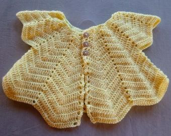 Yellow Chevron Baby Cardigan, 18-24 Months
