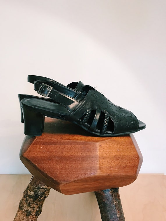 90's Square Toe Black Leather Sandals UK6