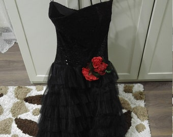 9c622848db Punk Black Gypsy Dress Black with Red Rose   Maxi Evening Dress   Tulle    Wedding   Pleated Sequin Party Wear Vintage   Gown