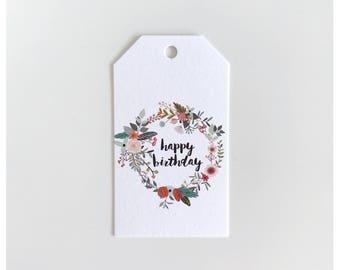 Happy Birthday Wreath Gift Tag