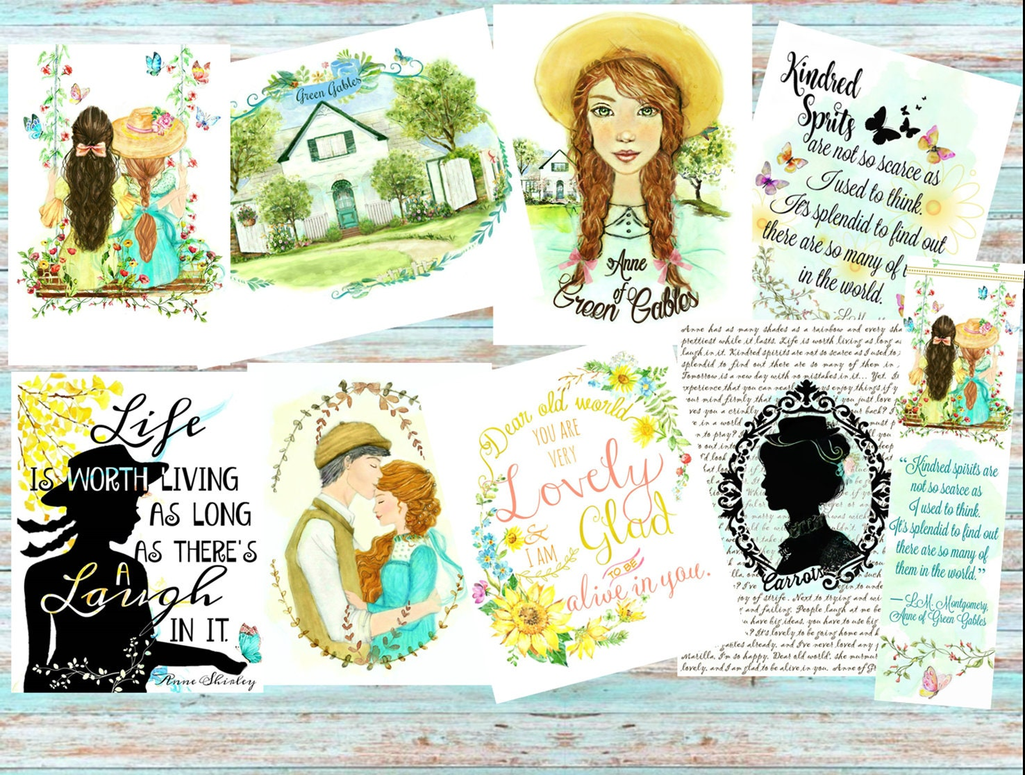 Anne Of Green Gables Collection 4x5 Set Of 8 Postcard Size