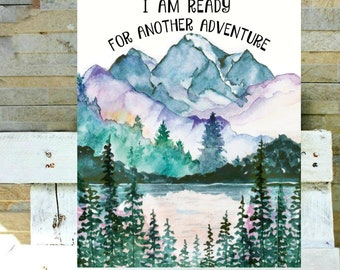 J. R. R. Tolkien quote I am ready for another adventure, LOTR wall art, LOTR quotes, The Hobbit, Literary print