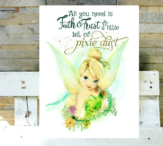 Tinkerbell Watercolor Print With Quote Or Without