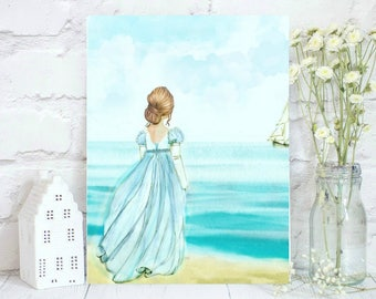 Watercolor girl staring at the sea. Anne Elliot from Persuasion.