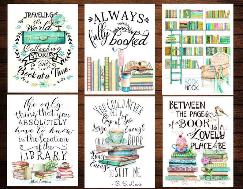 Set of 16 Book Lovers quotes postcards Literary Art Print image 0