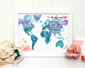 Watercolor Map with the quote: Take Heart I Have Overcome the World.