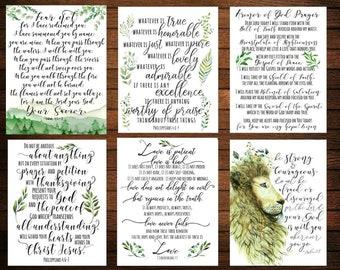 Set of 16 Scripture Cards Set, Prayer Cards, Bible verse, Card set, Scripture Art bible verse, Daily Prayer, Bible verses collection