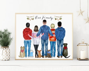 Personalized Dog Family Portrait, Dog Kids Print, Personalized Couple Dog Print, Custom Family Portrait with Pets, Pet Family Print