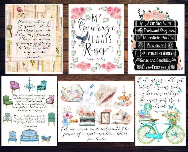 Set of 12 Jane Austen postcards Jane Austen Gift Literary image 0