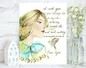 Watercolor Jane Eyre portrait with quote