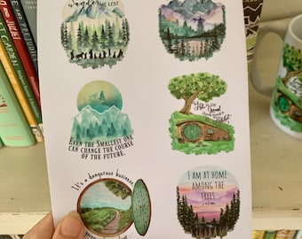 J. R. R. Tolkien sticker sheet, Set of 9 Lord of the Rings quotes stickers, LOTR stickers