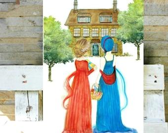 Watercolor Sisters or Best Friends - Jane Austen Sense and Sensibility
