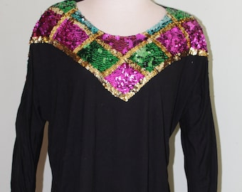 L XL vintage 1990 s rayon shirt with sequins 5908d0610f07d